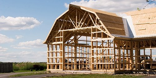 Frame work of farm house. Farm Mortgage Loans available at West Iowa Bank